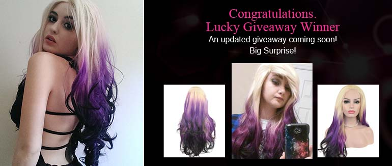 Congratulations for the Giveaway Winner-Purple Ombre Synthetic Wig