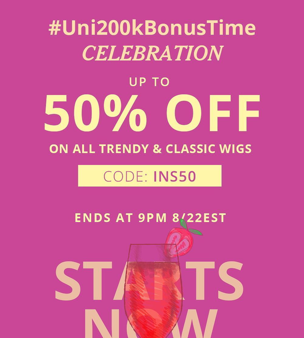 50% off for trendy wigs