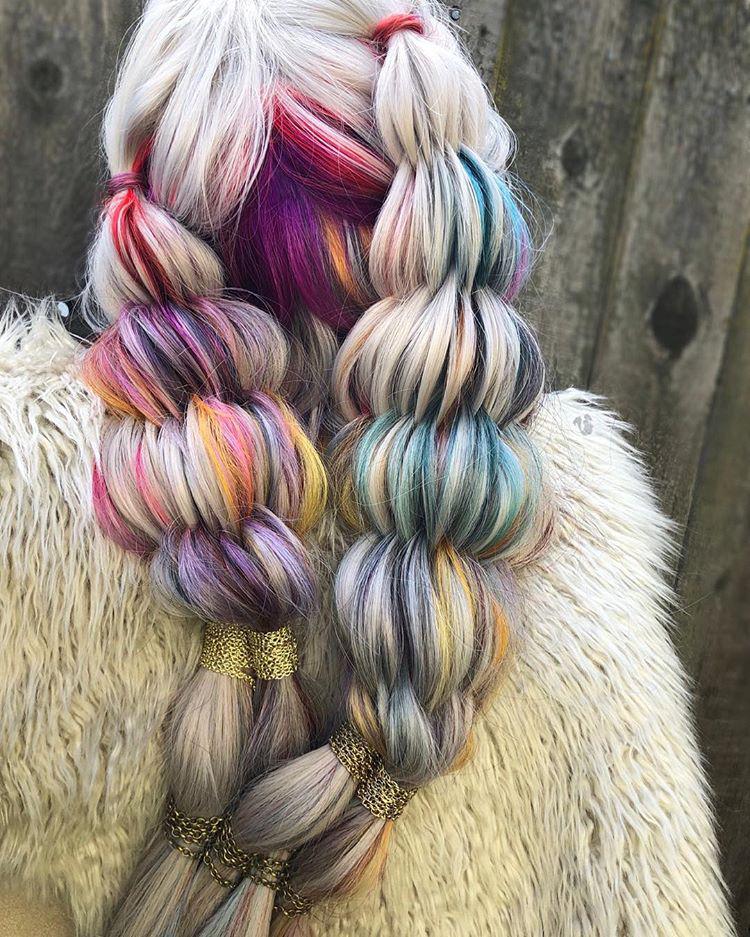 Two bundles of bushel braids